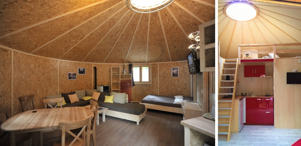 Maison ossature bois ronde et Yourte en bois